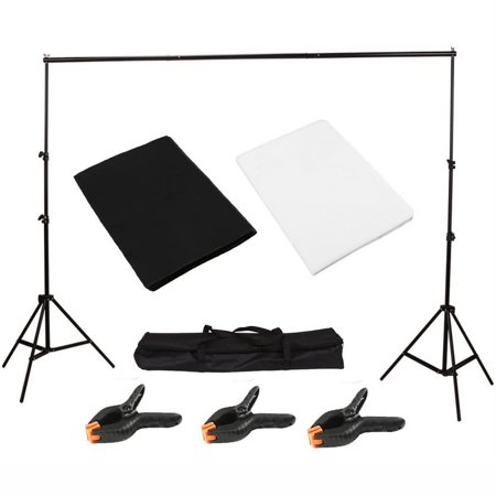 Light Studio Photo Studio Black White Background Backdrop Screen Stand Kit