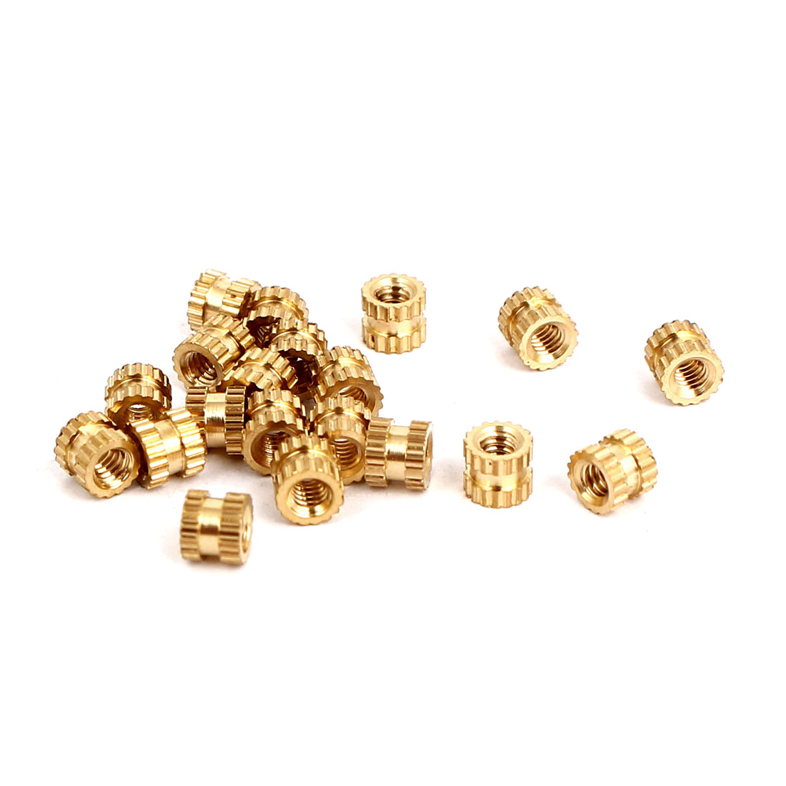 M2x3mmx3.5mm Female Threaded Brass Knurled Insert Embedded Nuts Gold Tone 20pcs