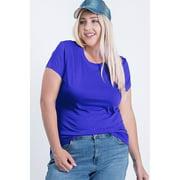 Women's Plus Size Elastic Basic Summer Lightweight Tee Shirt Cap Sleeve Round Neck Top
