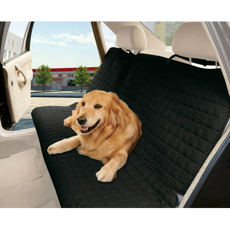Celine linen Quilted %100 Waterproof  Bench Car Seat Protector Cover (Entire Rear Seat)  for Pets - TIES TO STOP SLIPPING OFF THE BENCH ,
