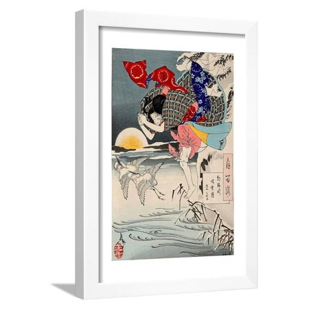 Moon of Pure Snow at Asano River, One Hundred Aspects of the Moon Framed Print Wall Art By Yoshitoshi
