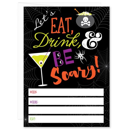 Eat, Drink and Be Scary Halloween Party Fill-in Invitations (Pack of 10)](Cool Halloween Party Drinks)