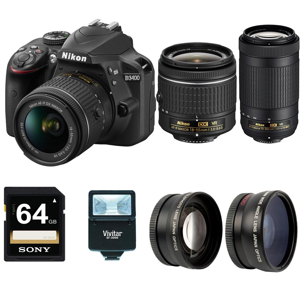 Nikon D3400 DSLR Camera (Black) w/ NIKKOR 18-55mm & 70-300mm Lenses + Accessory Bundle