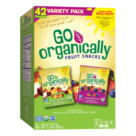 - GO ORGANICALLY® Organic Fruit Snacks, Fruit Medley and Mixed Berry, 0.8 oz, 42ct box