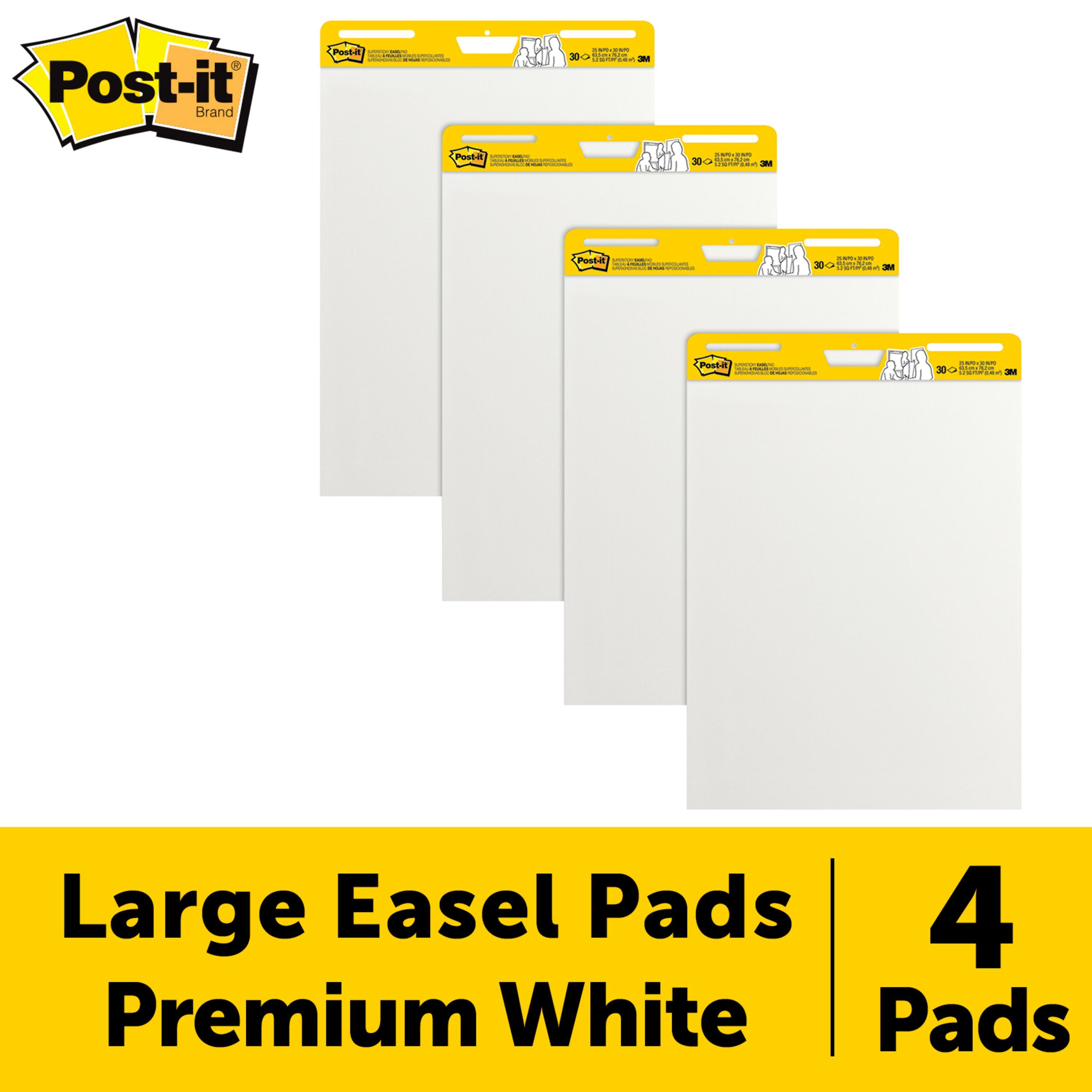 Super Sticking Power 30 Sheets//Pad Post-it Super Sticky Easel Pad 2 Pads 25 x 30 Inches Large White Premium Self Stick Flip Chart Paper 559