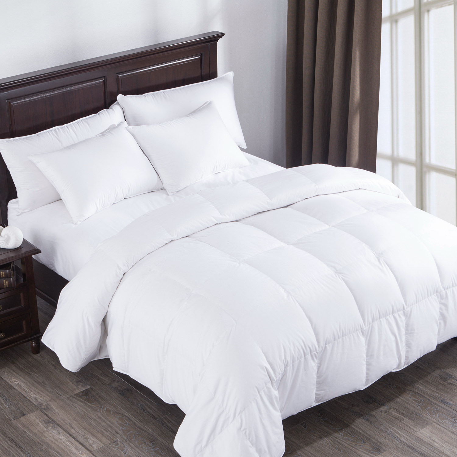 Puredown Heavy Fill White Goose Down Comforter 400 Thread Count 600 Fill Power Eygptian Cotton, Twin Size, White