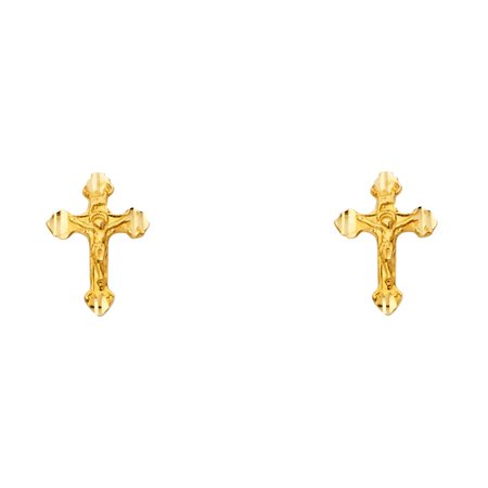 (Solid 14K Yellow Gold Crucifix Post Earring)