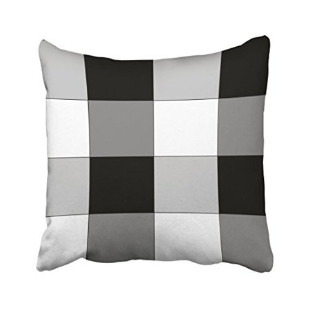 WinHome Vintage Popular Black And White And Gray Checkered Polyester 18 x 18 Inch Square Throw Pillow Covers With Hidden Zipper Home Sofa Cushion Decorative Pillowcases - Black & White Checkered