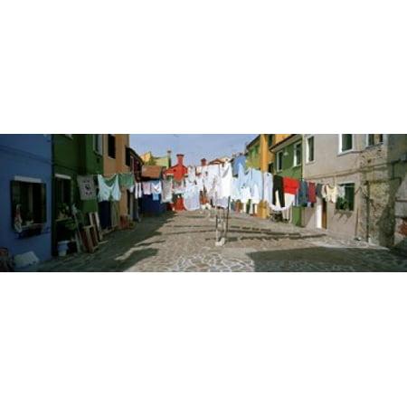 Clothesline In A Street Burano Veneto Italy Poster Print