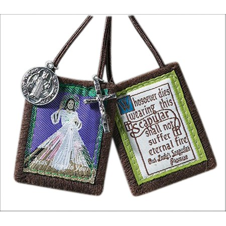 Jesus Christ Medal (Brown Cloth Divine Mercy Jesus Christ Scapular with Saint Benedict Medal and Crucifix, 1 3/4 Inch)