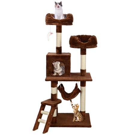 """57"""" Deluxe Cat Scratching Tree Kitten Condo Play House Furniture with Hammock , Brown - image 1 of 7"""