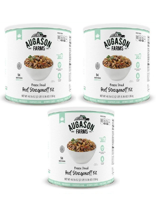 Augason Farms Freeze Dried Beef Stroganoff 3 Cans Combo by
