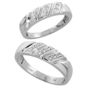 10k white gold diamond wedding rings set for him 6 mm and her 5 mm 2 - Wedding Rings For Her