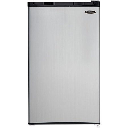 Danby 3.2 CF Compact Refrigerator - Black with Spotless Steel (Best Temperature For Fridge And Freezer)