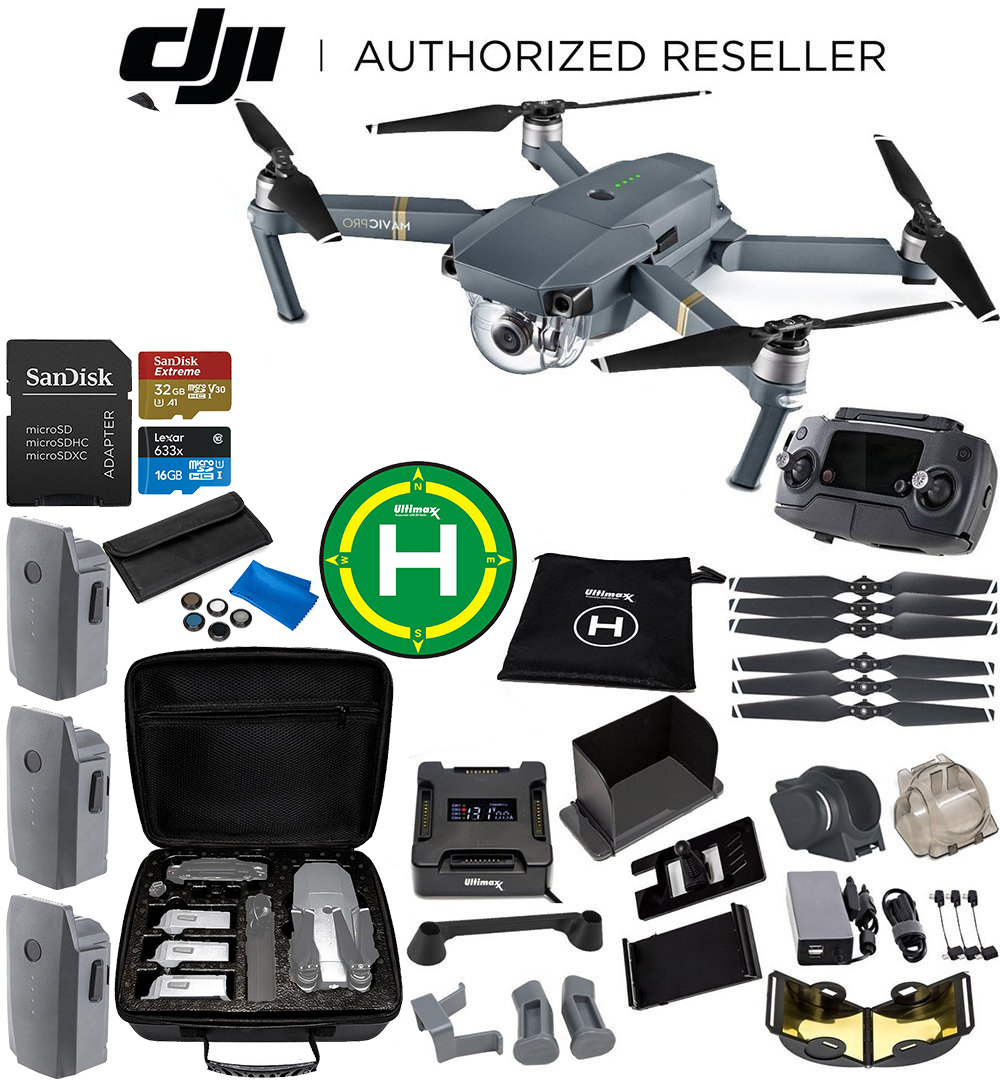 DJI Mavic Pro Collapsible Quadcopter 3-Battery Ultimate Bundle - CP.PT.000500