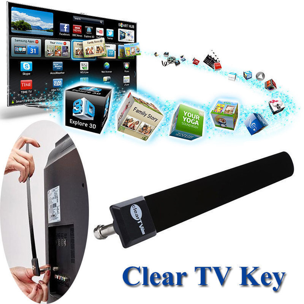 Womail Clear TV Key HDTV FREE TV Digital Indoor Antenna 1080p Ditch Cable As Seen on TV