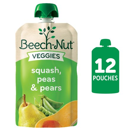 (12 Pack) Beech-Nut Veggies Stage 2, Squash Peas & Pears Baby Food, 3.5 oz Pouch