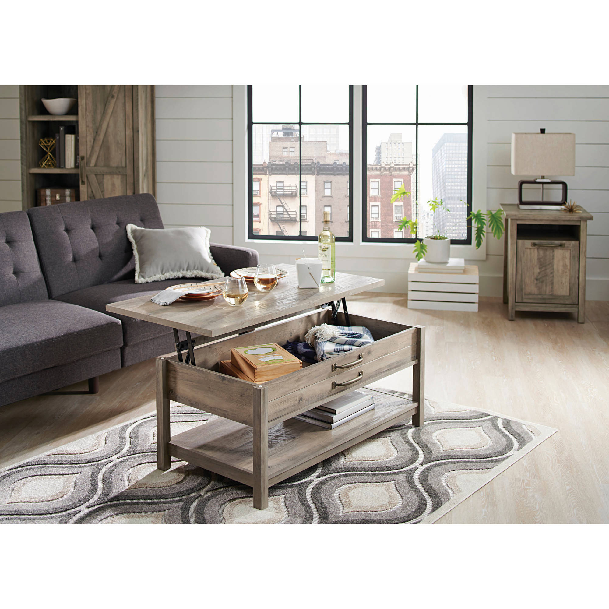. Better Homes   Gardens Modern Farmhouse Lift Top Coffee Table  Rustic Gray  Finish