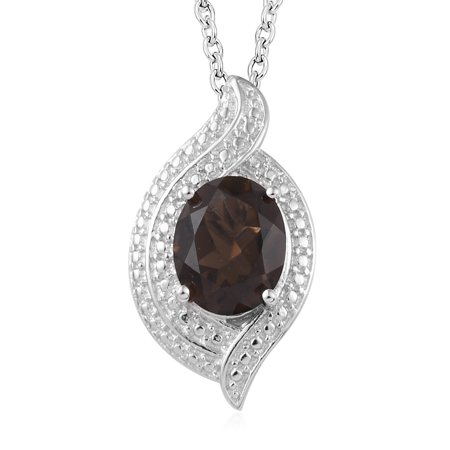 - Chain Pendant Necklace Oval Smoky Quartz Stainless Steel Gift Jewelry for Women Size 20