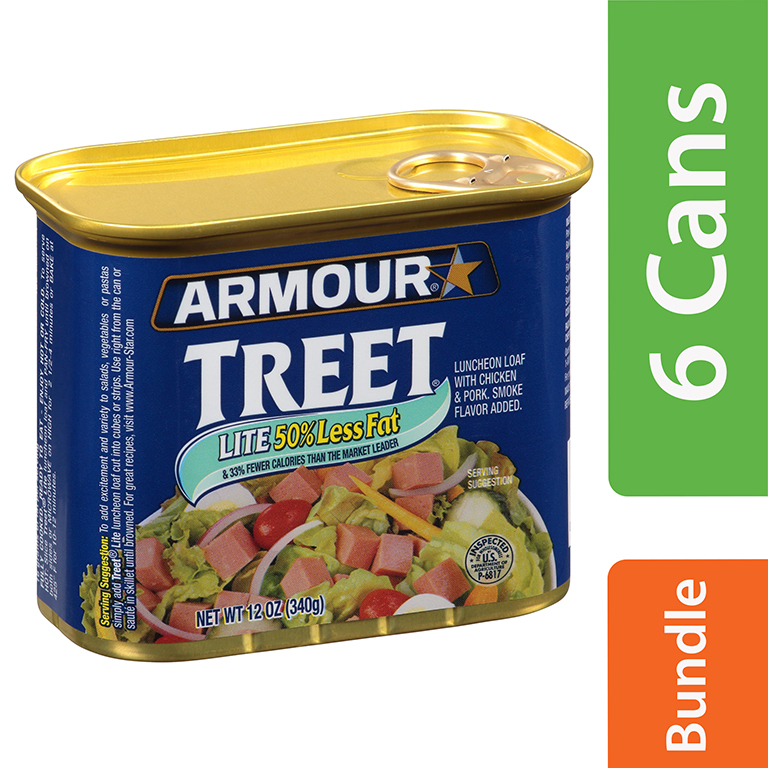 Armour Treet Lite Luncheon Loaf, 12 oz Pull-Top Can (6 Packs)