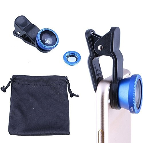 CiCi Gadgets 3 in1 Fish Eye + Wide Angle + Macro Camera Clip-on Lens for Universal Cell Phone, Smartphones, Iphone, Samsung - Blue