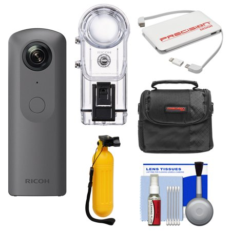 Ricoh Theta V 360 Degree Spherical 4K Hd Digital Camera With Tw 1 Underwater Housing   Case   Buoy Handle   Charger   Kit