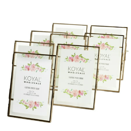 Koyal Wholesale Pressed Glass Floating Photo Frames 5 x 7 Frame, Antique Gold 8-Pack Use Horizontal or - Antique Gilded Frames