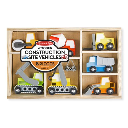 Melissa & Doug Wooden Construction Site Vehicles With Wooden Storage Tray (8pc)