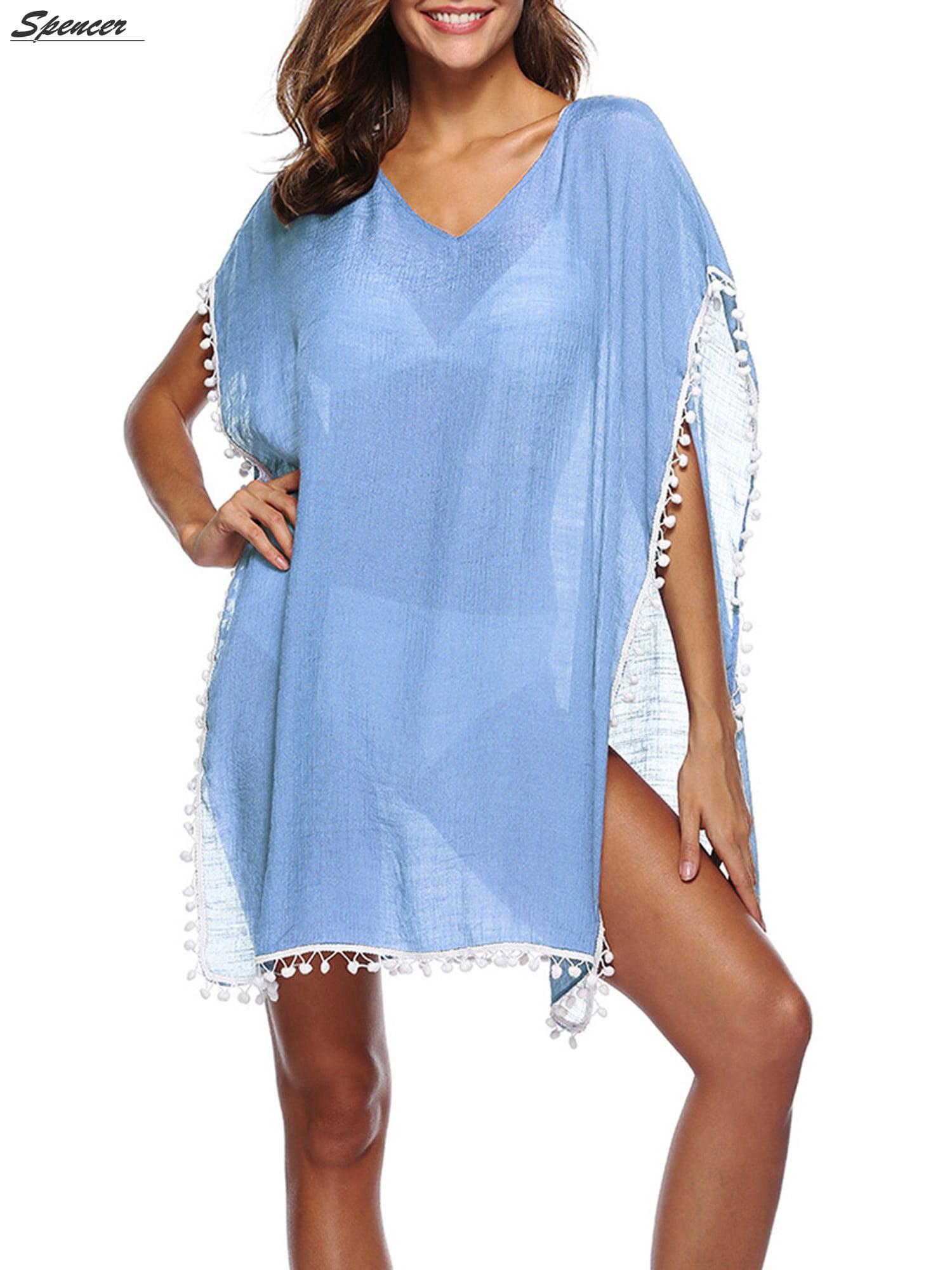 1c617ff990 Spencer - Spencer Beach Swimwear Crochet V Neck Bikini Cover up Net for  Women Swimsuit Pool Cover up Hollow Dress