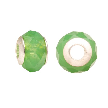 Opaque Green Diamond Faceted Beauty Large Hole Beads Murano Lampwork European Glass Crystal Charms Beads Spacers Fit Pandora Troll Chamilia Carlo Biagi Zable Snake Chain Charm Bracelets 10x13.5mm 4pcs