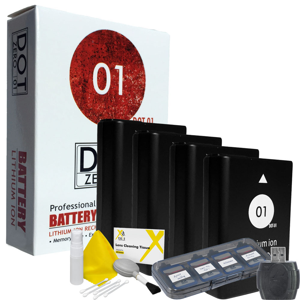 4x DOT-01 Brand 1650 mAh Replacement Nikon EN-EL14A / EN-EL14 Batteries for Nikon P7100 Digital Camera and Nikon ENEL14A Accessory Bundle
