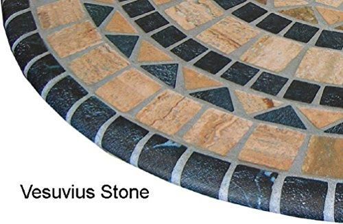 ... Mosaic Table Cloth Round 36 To 48 Elastic Edge Fitted Vinyl Table Cover  Vesuvius Stone Pattern