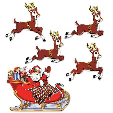 Vintage Christmas Santa & Sleigh Cutouts