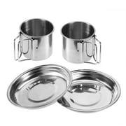 Domqga 6Pcs Portable Stainless Steel Cookware Set Camping Picnic Outdoor Pan Pot Plate Cup, Picnic Bowl, Outdoor Camping Pan