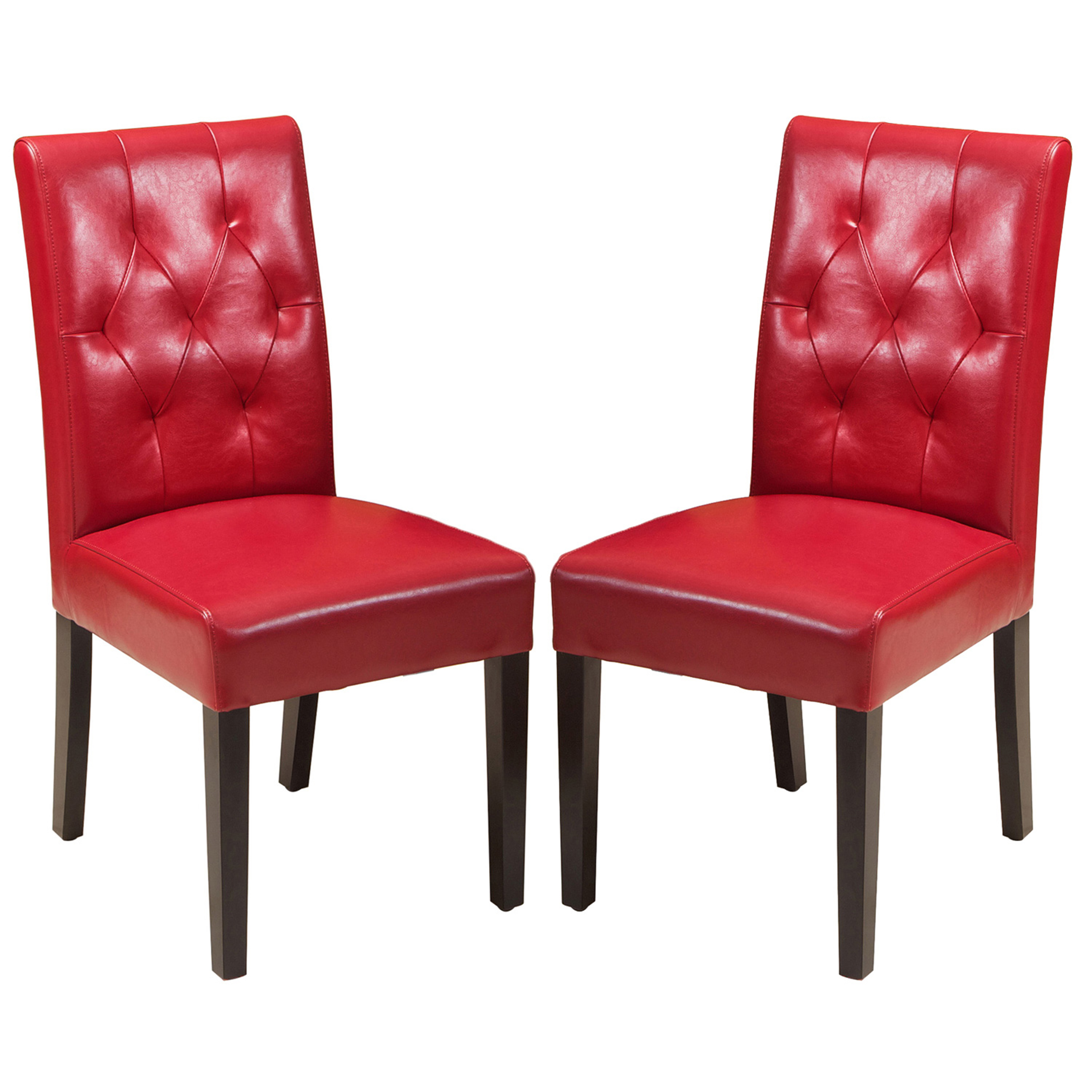 Falo Bonded Leather Red Dining Chair (Set of 2)