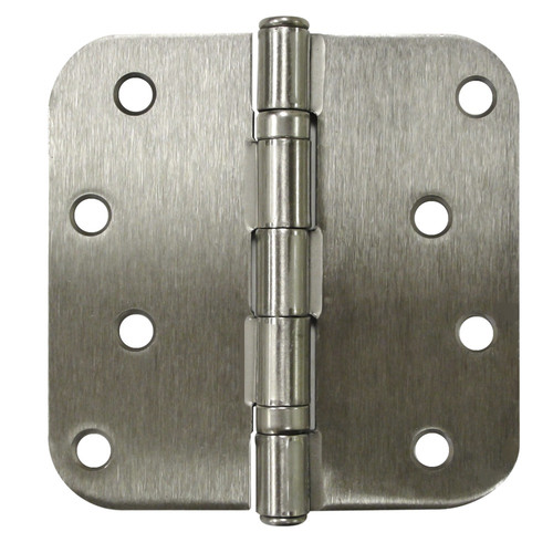 "Deltana S44R5BB 4"" x 4"" Ball Bearing 5/8"" Radius Corners Mortise Hinge - Pair"