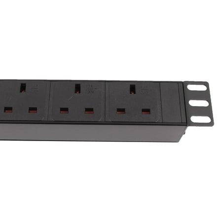 AC 250V UK Plug Fused Extension Cable 6 UK Power Socket Strip Switch PDU - image 2 of 8
