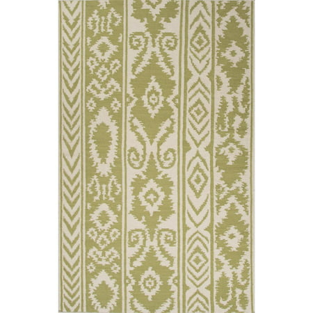 2 X 3 Olive Green And Sandy Tan Farid Flat Weave Tribal Pattern Wool Area Throw Rug