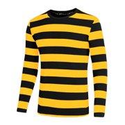Men Casual Pullover Basic Striped Print Crew Neck Long Sleeve Tee T Shirt 42 Black Yellow