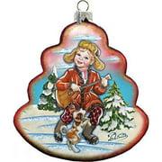 G Debrekht Holiday Dancing Boy Tree Glass Ornament