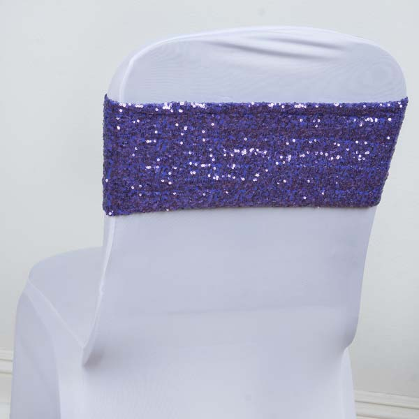 Efavormart 5 PCS x SEXY SEQUINED Spandex Chair Sash for Wedding Events Banquet Decor Chair Bow Sash Party Decoration Supplies
