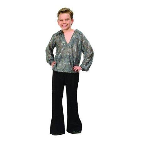 Disco Boy Costume - Silver - Size Child Medium 8-10 - Kids Disco Costume
