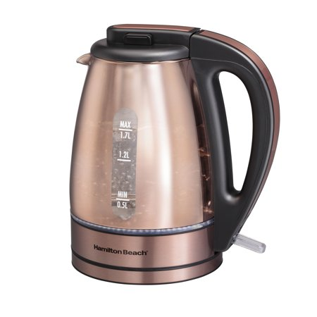 Hamilton Beach Glass 1.7 Liter Copper Plated Kettle