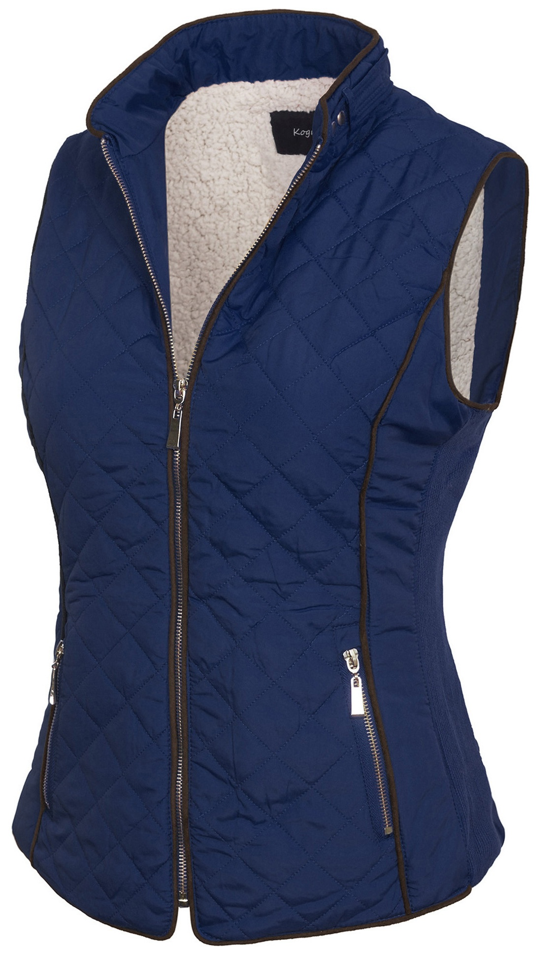 d376224a5b2 KOGMO - KOGMO Womens Quilted Fully Lined Lightweight Zip Up Vest with Fur  Lining - Walmart.com