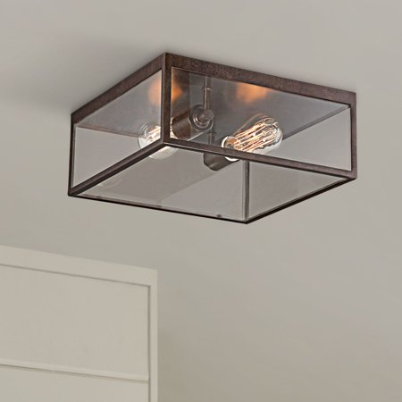 John Timberland Modern Outdoor Ceiling Light Fixture Bronze 12 Square Clear Gl Damp Rated For Exterior House Porch Patio