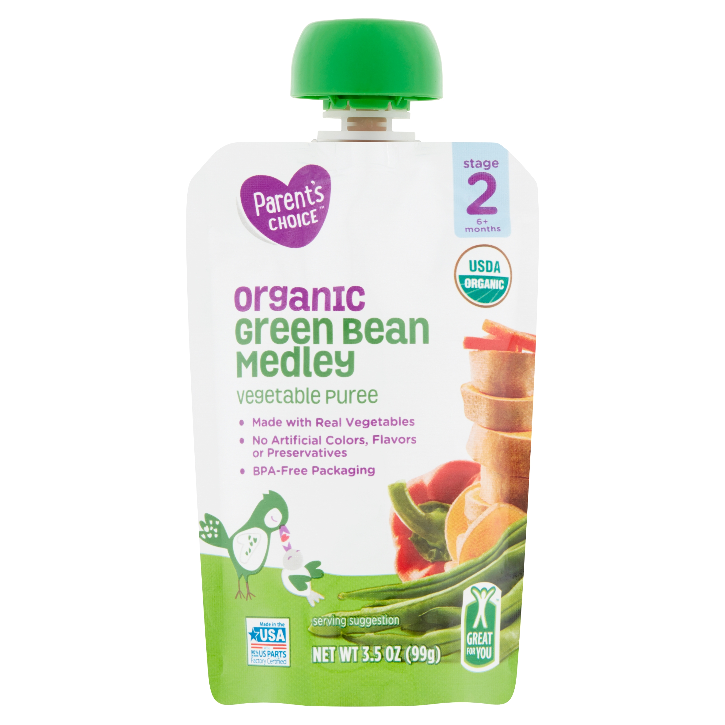 Parent's Choice Organic Green Bean Medley, Stage 2, 3.5 oz Pouch