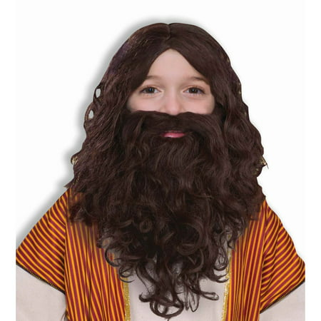 Biblical Wig and Beard Set Child - One - Fake Beard For Kids