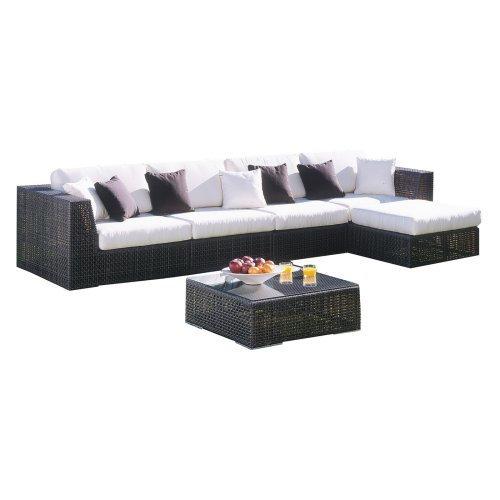 Hospitality Rattan Soho 6 Piece Deep Seating Sectional Conversation Set with Cushions and Tempered Glass - Rehau Fiber Java Brown