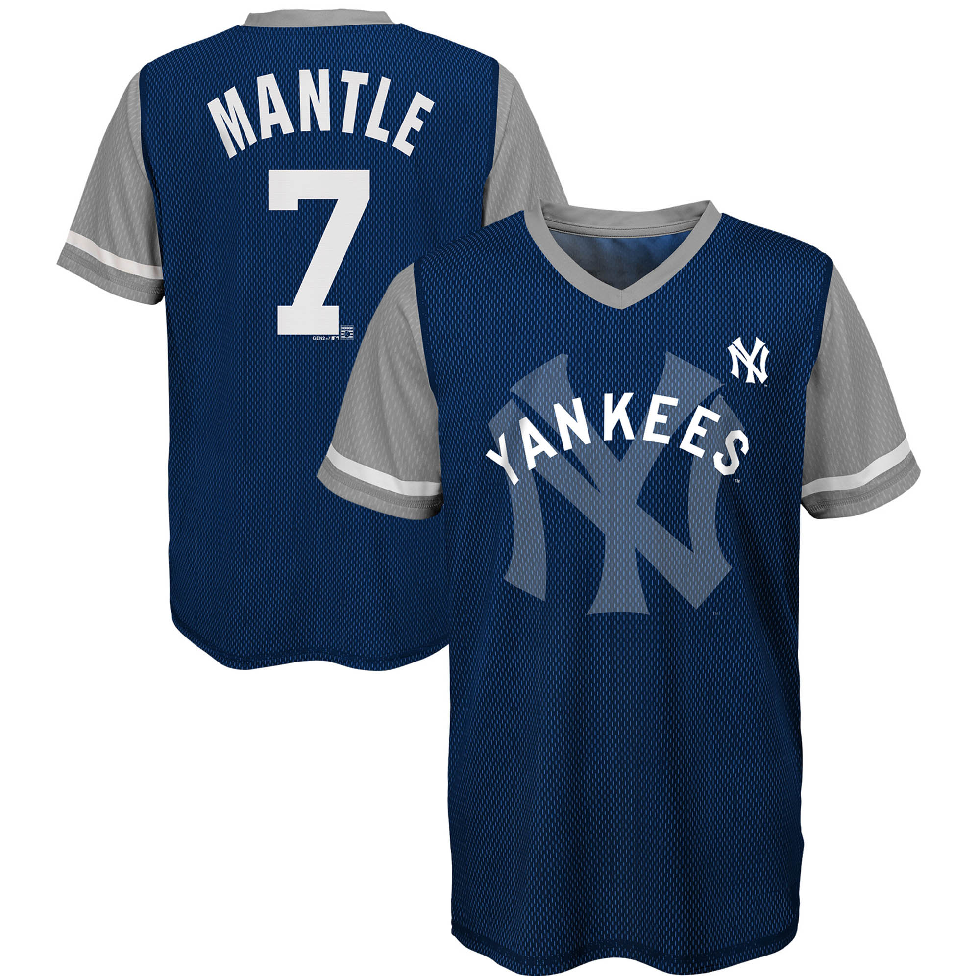 Mickey Mantle New York Yankees Majestic Youth Cooperstown Collection Play Hard Player V-Neck Jersey T-Shirt - Navy/Gray