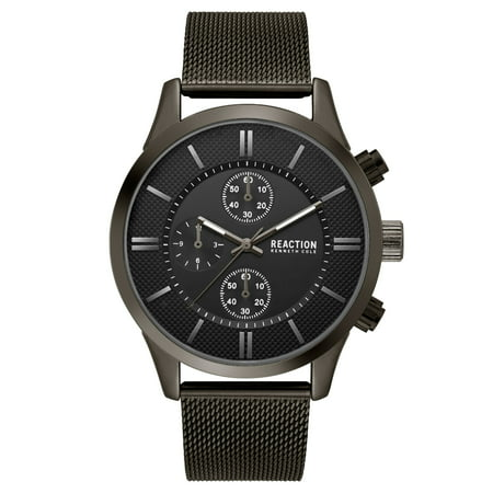 Kenneth Cole Chronograph Bracelet (Kenneth Cole Reaction Men's Black Case Grey Dial Black Mesh Bracelet Watch)